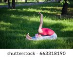 yoga in the park  outdoors  ... | Shutterstock . vector #663318190