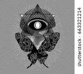 alchemy symbol. futuristic... | Shutterstock .eps vector #663321214