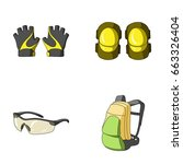 gloves  elbow pads  goggles ... | Shutterstock .eps vector #663326404