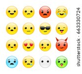 funny yellow isolated emoticons ... | Shutterstock .eps vector #663330724