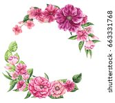 Floral Wreath With Watercolor...