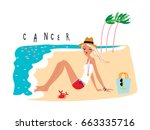cancer girl horoscope sign as a ... | Shutterstock .eps vector #663335716