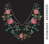 embroidery neck line floral... | Shutterstock .eps vector #663344233