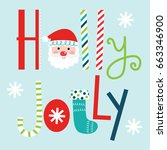 typography holly jolly design | Shutterstock .eps vector #663346900