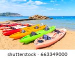 colourful kayaks on sandy es... | Shutterstock . vector #663349000