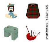 Stock vector highlander scottish viking tartan kilt scottish skirt scone stone national musical instrument 663349528