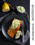 grilled salmon with avocado... | Shutterstock . vector #663350149