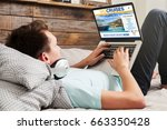 man booking cruise travel by... | Shutterstock . vector #663350428