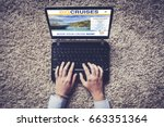 laptop with website of travel... | Shutterstock . vector #663351364