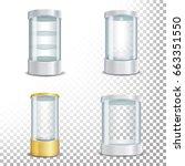 round empty glass showcase... | Shutterstock .eps vector #663351550
