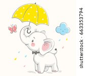 cute elephant with umbrella... | Shutterstock .eps vector #663353794