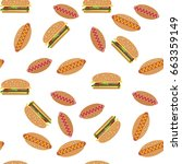 vector seamless pattern of hot... | Shutterstock .eps vector #663359149