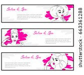 three pink  banners with curly... | Shutterstock .eps vector #663361288