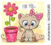 greeting card kitten girl with... | Shutterstock . vector #663364180