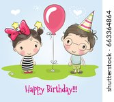 greeting birthday card with... | Shutterstock . vector #663364864