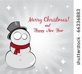 Greeting Card with Snowman - stock vector