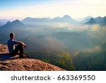 tall short hair hiker in shirt... | Shutterstock . vector #663369550