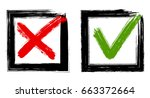 symbolic red x  and green ok... | Shutterstock .eps vector #663372664