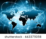 world map on a technological... | Shutterstock . vector #663375058