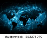 world map on a technological... | Shutterstock . vector #663375070