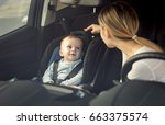 portrait of mother and baby boy ... | Shutterstock . vector #663375574