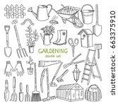 vector hand drawn illustrations ... | Shutterstock .eps vector #663375910