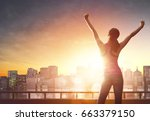athletic young woman is running ... | Shutterstock . vector #663379150