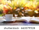 open book with white coffee cup ... | Shutterstock . vector #663379528