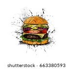 burger   fast food concept ... | Shutterstock .eps vector #663380593