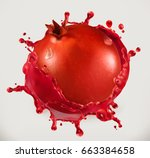 pomegranate juice. fresh fruit  ... | Shutterstock .eps vector #663384658
