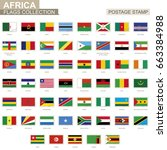 postage stamp with africa flags.... | Shutterstock .eps vector #663384988