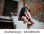 brunette plus size sexy woman ...   Shutterstock . vector #663385654