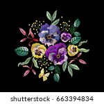 fashion vector embroidery with... | Shutterstock .eps vector #663394834