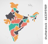 indian map with regions and... | Shutterstock .eps vector #663395989