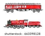 watercolor retro train... | Shutterstock . vector #663398128