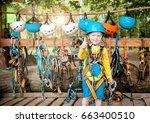 little cute boy enjoying... | Shutterstock . vector #663400510