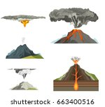 volcano magma nature blowing up ... | Shutterstock .eps vector #663400516
