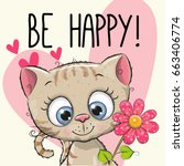be happy greeting card kitten... | Shutterstock . vector #663406774