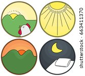 vector set of time of the day | Shutterstock .eps vector #663411370