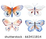 Stock vector vector illustration of watercolor butterflies isolated on white background 663411814