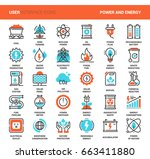 vector set of power and energy... | Shutterstock .eps vector #663411880