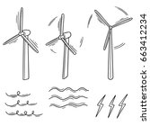 vector set of wind turbine | Shutterstock .eps vector #663412234