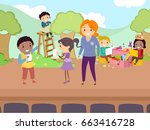 illustration of stickman kids... | Shutterstock .eps vector #663416728