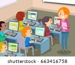 illustration of stickman kids... | Shutterstock .eps vector #663416758