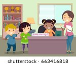 illustration of stickman kids... | Shutterstock .eps vector #663416818