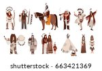set of indians in traditional... | Shutterstock . vector #663421369