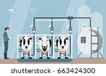 internet of things on dairy... | Shutterstock .eps vector #663424300