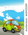cartoon sports car smiling and... | Shutterstock . vector #663425209