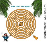 pirate treasure maze. labyrinth ... | Shutterstock .eps vector #663428674