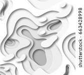 cut paper 3d waves abstract... | Shutterstock .eps vector #663428998